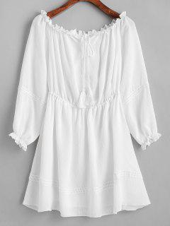 ZAFUL Half Buttoned Tassels Off Shoulder Dress - Milk White L