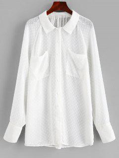 Chemise Texturée Semi-Transparente Avec Poches - Blanc M