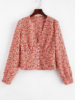 Blusa De Flores Con Cuello En V - Rojo L