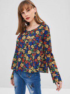 Blusa Floral Con Cuello En V - Multicolor L