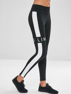 Letter Color Block Leggings - Black M
