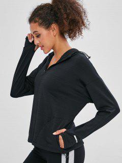 Hooded Pocket Zipper Jacket With Armhole - Black L