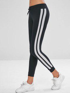 Drawstring Striped Jogger Pants - Black M