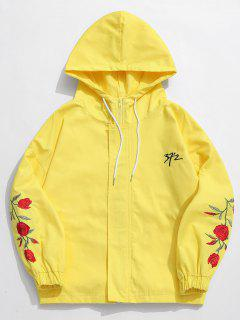 Zip Fly Flower Embroidery Hooded Jacket - Yellow 2xl