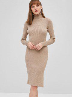 Ribbed Slit Bodycon Sweater Dress - Light Khaki