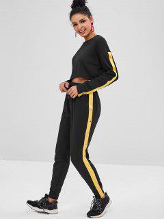 Rivet Sweatshirt And Drawstring Pants Set - Black M