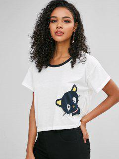 Cat Print Loose T-shirt - White M
