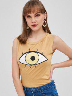 Camiseta Sin Mangas Con Gráfico De Ojos - Color De Madera
