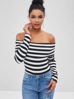 Striped Ribbed Off Shoulder Snap Crotch Bodysuit - Multi M