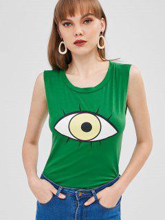 Camiseta Sin Mangas Con Gráfico De Ojos - Verde De Trébol