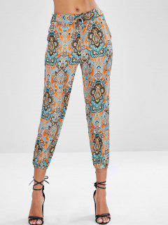 Pantalon Imprimé Avec Cordon De Jogging - Orange Mangue