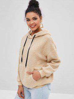 Faux Fur Pouch Teddy Oversized Hoodie - Camel Brown S