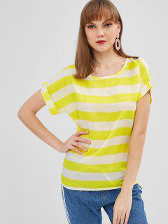 Rolled Up Sleeve Striped Blouse - Yellow