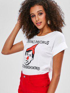 Camiseta Enrollada Con Mangas En Forma De Carta - Blanco