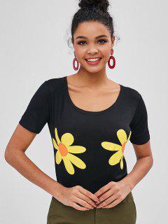 T-shirt Graphique à Fleurs à Manches Courtes - Noir