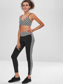 Plaid Gym Yoga Bra And Leggings Set - Black S