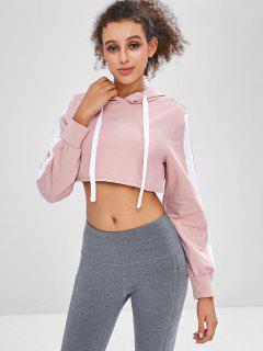 Crop Raw Hem Sport Hoodie - Pig Pink S