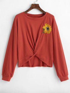 ZAFUL Sunflower Embroidered Twist Top - Chestnut Red S