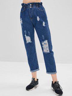 Ruffle Waist Ripped Cuffed Jeans - Blue M