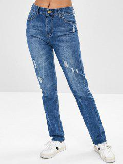 Frayed Hem Ripped Boyfriend Jeans - Blue Xl