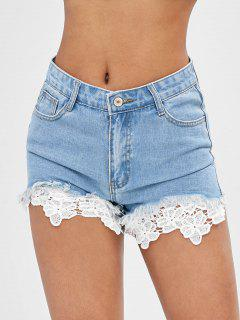 Lace Panel Jean Shorts - Light Blue M