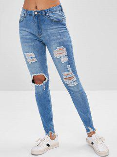 Destroyed Frayed Hem Jeans - Jeans Blue M