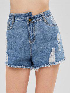 Distressed Cuff Off Jean Shorts - Jeans Blue L