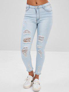Distressed Faded Jeans - Light Blue M