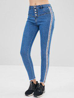 Striped Patch Button Fly Jeans - Blue L