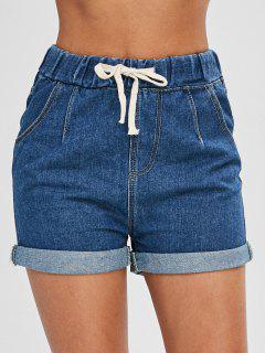 Drawstring Cuffed Jean Shorts - Blue L