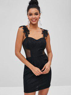 Mesh Panel Sweetheart Bodycon Dress - Black M