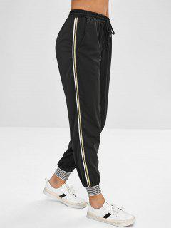 Stripe Trim Drawstring Jogger Pants - Black M