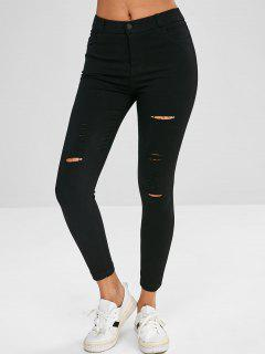 Skinny Ripped Pants - Black Xl