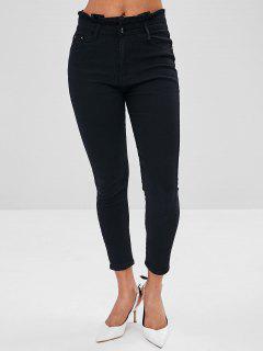 Jeans Taille Haute à Volants - Noir L