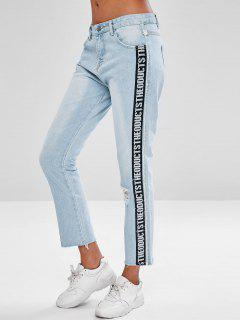Letter Patch Ripped Faded Jeans - Jeans Blue Xl