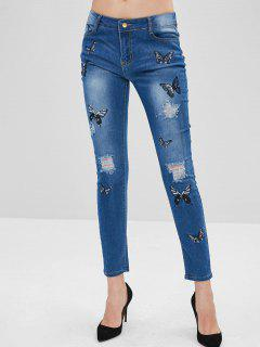 Ripped Butterflies Embroidered Skinny Jeans - Denim Blue L