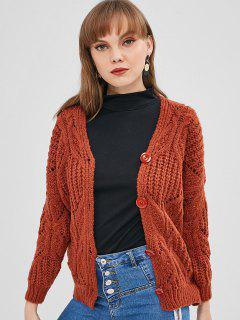 V Neck Button Up Chunky Cardigan - Brown
