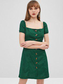 Square Button Up Corduroy Dress - Medium Sea Green M