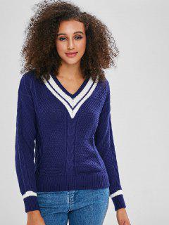 Suéter De Punto De Cable Con Rayas De Cuello En V - Azul Profundo