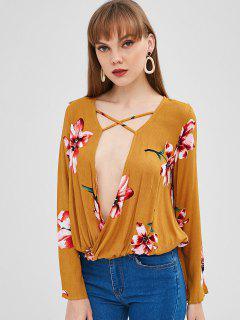 Blusa Cruzada De Zambullida De Flores - Amarilla De Abeja  S