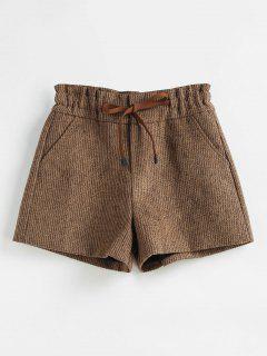 Shorts Mit Weitem Bein Und Hoher Taille - Braunes Kamel  L