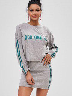 Letter Graphic Stripes Top And Skirt Set - Gray Cloud M