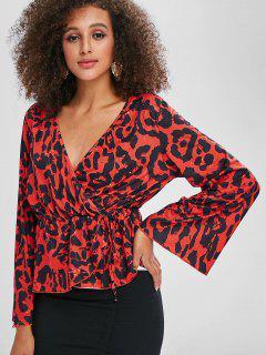 Camiseta De Manga Larga Con Estampado De Leopardo - Rojo S