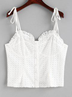 Button Up Eyelet Cami Top - White M