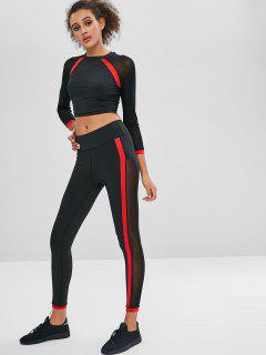 Mesh Panel Sport Tee And Leggings Set - Black S