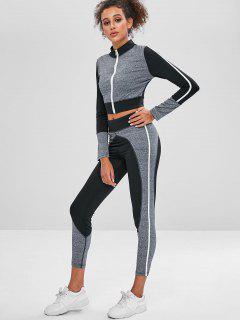 Zip Colorblock Gym Top And Leggings Set - Dark Gray L
