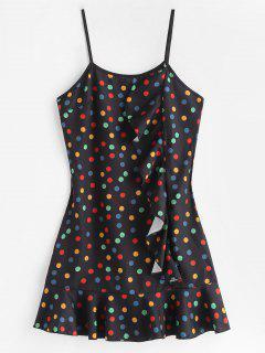 Ruffles Polka Dot Cami Dress - Black S
