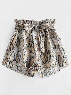 ZAFUL Snakeskin Print Wide Leg Belted Shorts - Multi M