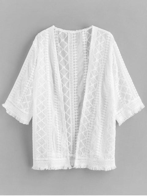 Encubrimiento de playa de dobladillo deshilachado crochet - Blanco Talla única Mobile