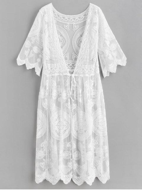 latest Crochet Tie Front Longline Cover Up - WHITE ONE SIZE Mobile